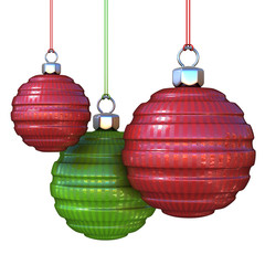 Red and green striped, hanging Christmas balls. isolated