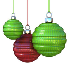 Green and red striped, hanging Christmas balls. isolated