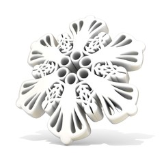 Ornamental, white snowflake,3D render illustration isolated