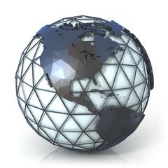 Earth globe, America view