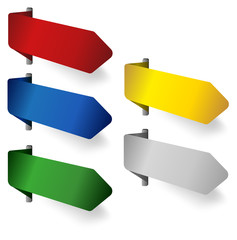 Blank corner ribbons in various colors