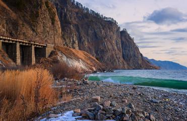 Circum-Baikal railway autumn in November