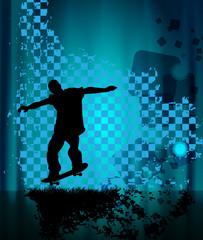 Vector skateboarder silhouettes