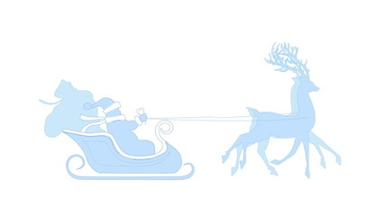 Santa with reindeer isolated