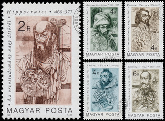 Stamps printed in Hungary show The Great  Pioneers of Medical
