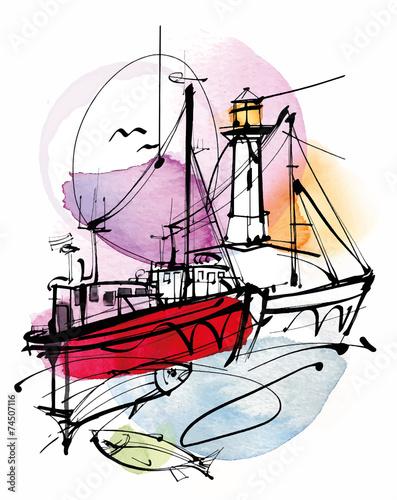 czerwony-statek-rybacki-i-latarnia-morska-rysunek