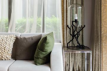 livingroom design with white sofa