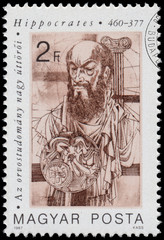 Stamp printed in Hungary shows Hippocrates