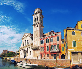 Canals and colorful buildings in Venice, Italy