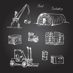 Hand drawn warehouse sketch set.
