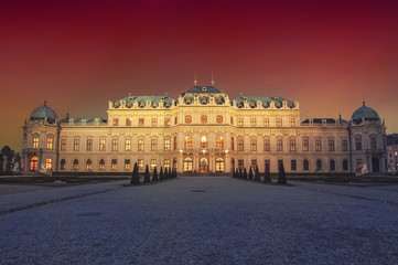 Belvedere Palace in Vienna at night