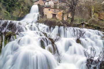 waterfall in orbaneja del castillo,burgos, Spain