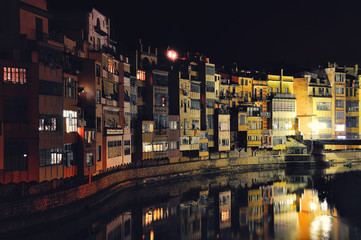 A View of the City of Gerona in Spain at Night
