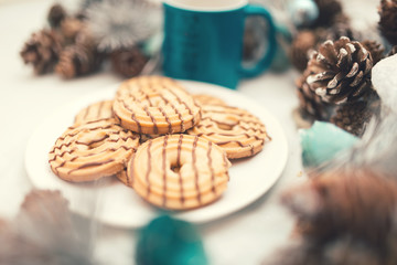 caramel cookies and biscuits with christmas decoration