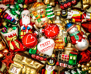 christmas baubles, toys and ornaments. retro style toned