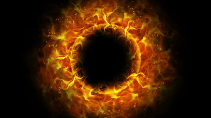 Fiery Empty Ring Background with Alpha Channel