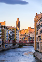 Girona Cathedral with Eiffel bridge over the Onyar river - Spain