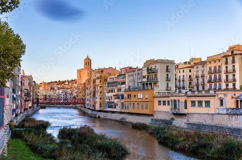 City on the water View of the embankment in Girona - Catalonia, Spain