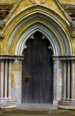 doorway at an old cathedral, UK