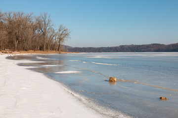 Clear winter day at  Mississippi River, Afton State Park, Minnes