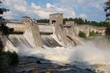 View of a hydroelectric power station dam in Imatra, Finland