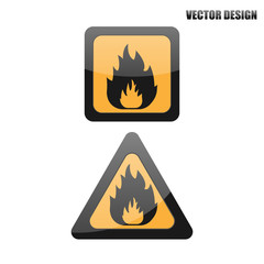 Vector fire warning sign.