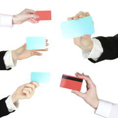Collage of hands holding empty business cards and credit cards