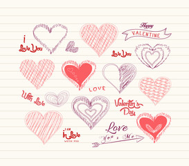 valentine day Love hearts doodle set