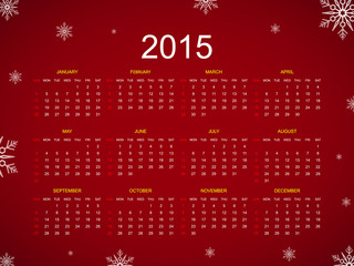 Calendar 2015 snowflake vector illustration