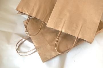 pile of blank brown paper bag