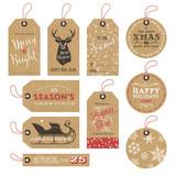10 kraft paper christmas gift tags - 74513364