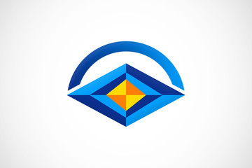 3D abstract vision geometry logo vector