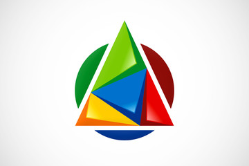 3D abstract triangle technology geometry logo vector