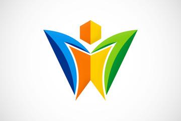 3D unusual shape people ecology technology logo vector