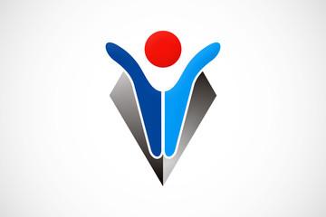 man abstract technology modern logo vector