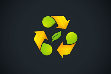 recycle arrow symbol ecology logo vector