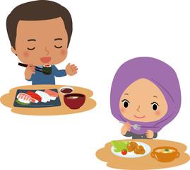 和食や洋食を楽しむ男性と女性