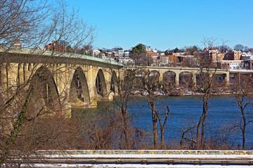Key Bridge and Georgetown, Washington DC in winter