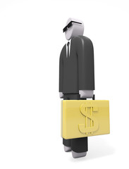 Abstract businessman in black suit with golden suitcase