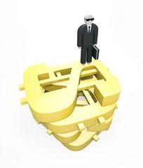 Abstract businessman standing on huge golden dollars