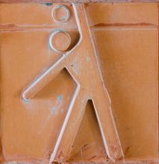 Sport icon set on earthenware brick