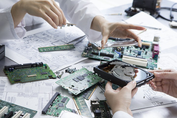 Computer parts, DVD, researcher