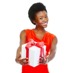 Beautiful girl with Christmas gifts.