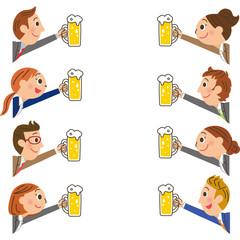 サラリーマン、ビール、乾杯