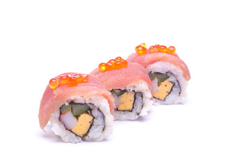 sushi sashimi with egg salmon on white background