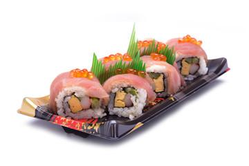 sushi sashimi with egg salmon on top
