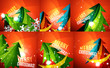 Zdjęcia na płótnie, fototapety, obrazy : Set of colorful shiny Chrismas cards