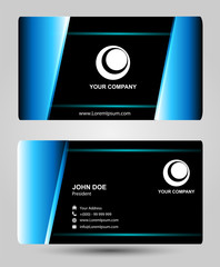 Blue black business card