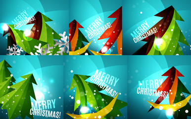Set of colorful shiny Chrismas cards