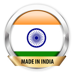 made in india silver badge isolated button